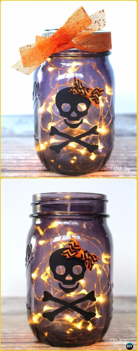 DIY Glowing Halloween Mason Jar Tutorial- DIY Halloween Mason Jar Craft Ideas Projects