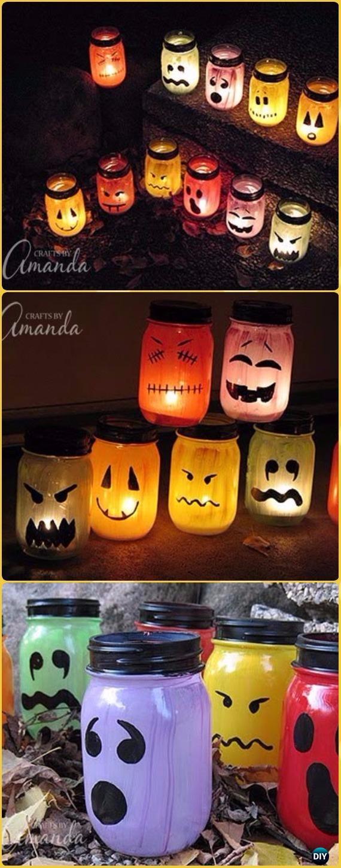 DIY Halloween Painted Jar Luminaries Tutorial- DIY Halloween Mason Jar Craft Ideas Projects