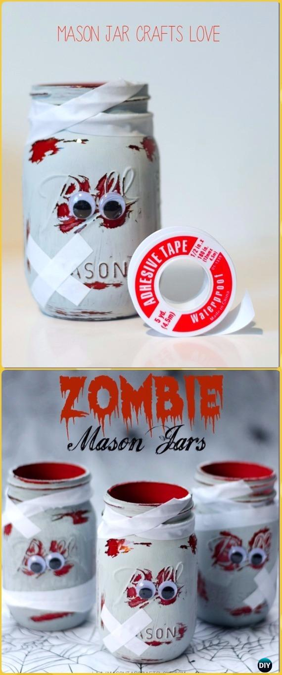 Diy Zombie Mason Jars Tutorial Diy Halloween Mason Jar Craft Ideas