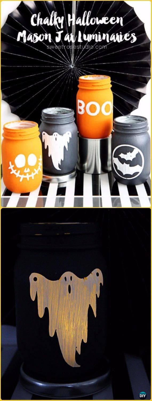 DIY Chalky Halloween Mason Jar Luminaries Tutorial- DIY Halloween Mason Jar Craft Ideas Projects