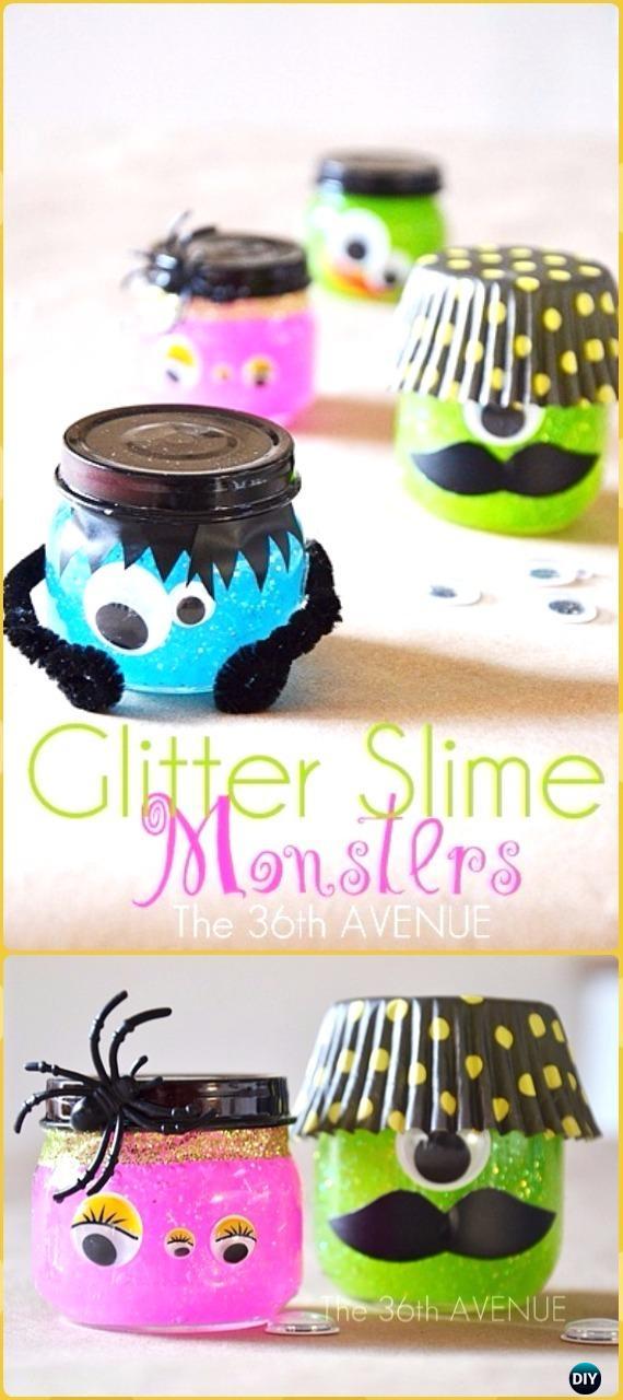DIY Halloween Glitter Slime Monster Jars Tutorial- DIY Halloween Mason Jar Craft Ideas Projects