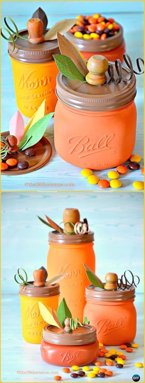 DIY Pumpkin Mason JarTutorial - DIY Halloween Mason Jar Craft Ideas Projects