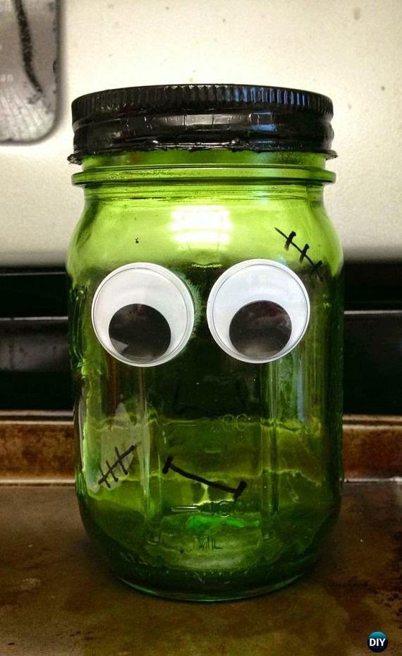 DIY Frankenstein Heritage Green Ball JarTutorial - DIY Halloween Mason Jar Craft Ideas Projects