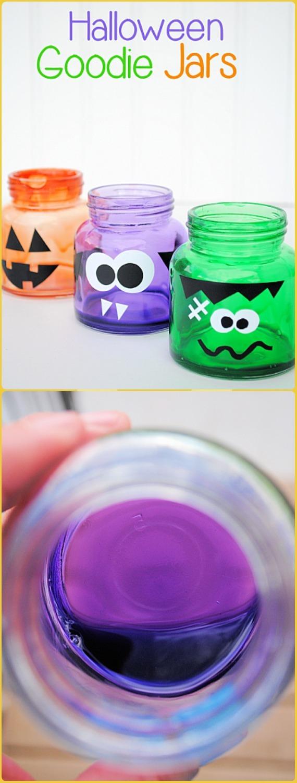 DIY Halloween Goodie Jars Tutorial - DIY Halloween Mason Jar Craft Ideas Projects