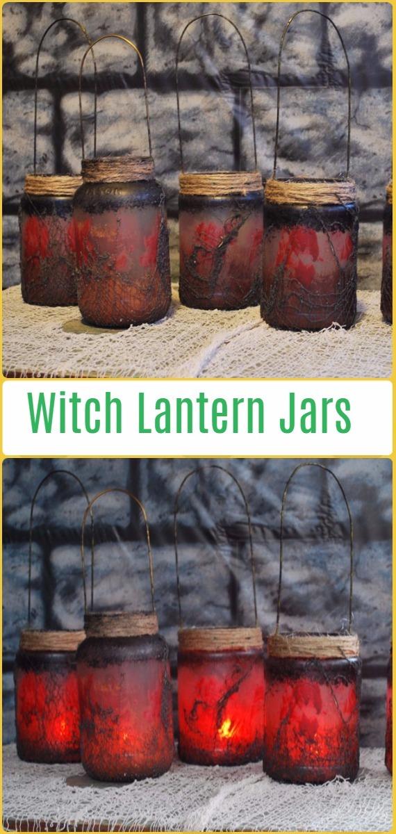 DIY Halloween Witch Lantern Jars- DIY Halloween Mason Jar Craft Ideas Projects