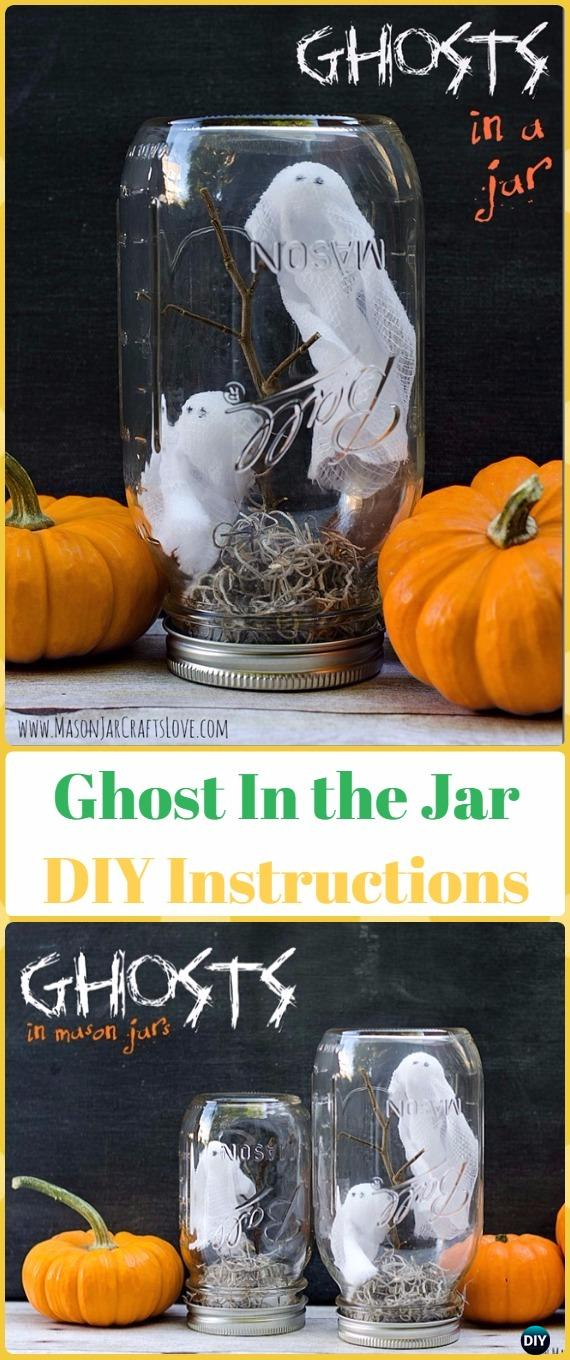 DIY Ghost in the Jar Tutorial- DIY Halloween Mason Jar Craft Ideas Projects