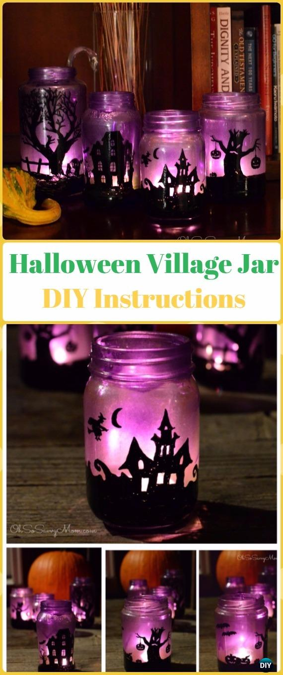 DIY Halloween Village Mason Jar Luminaries Tutorial- DIY Halloween Mason Jar Craft Ideas Projects