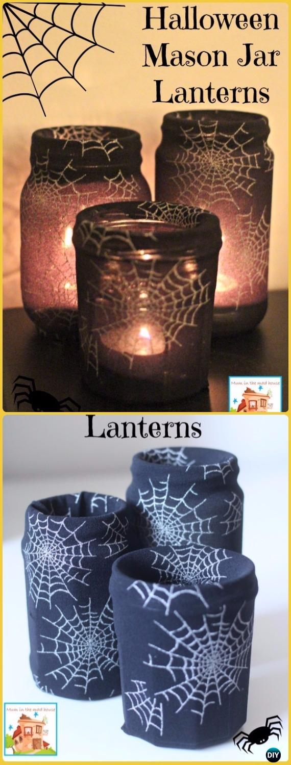 DIY Halloween Tight Mason Jar Lantern Tutorial- DIY Halloween Mason Jar Craft Ideas Projects