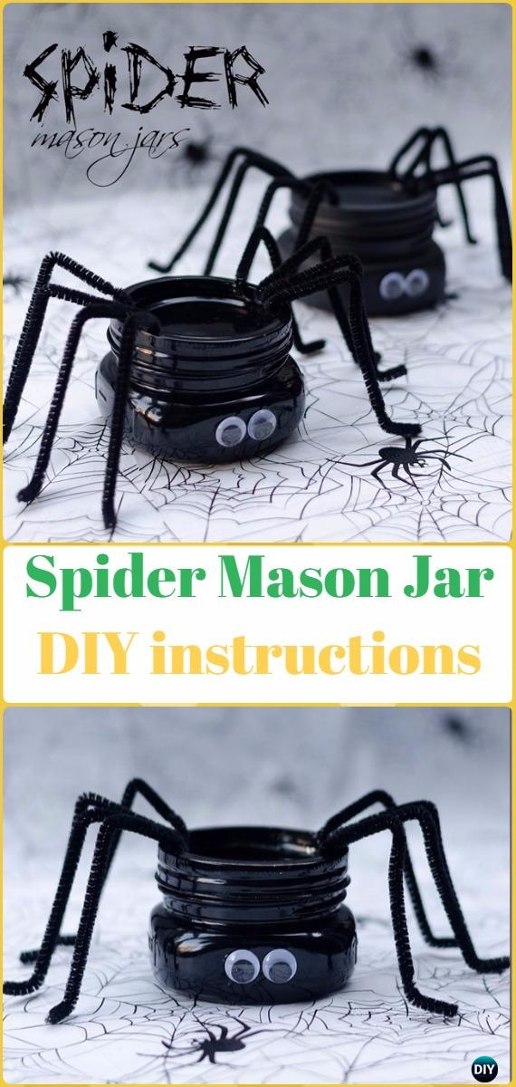 DIY Spider Mason Jar Tutorial- DIY Halloween Mason Jar Craft Ideas Projects