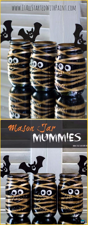DIY Mummy Mason Jars Tutorial- DIY Halloween Mason Jar Craft Ideas Projects