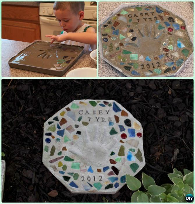 DIY Handprint Cement Stepping Stone Instruction - DIY Handprint Craft Gift Ideas