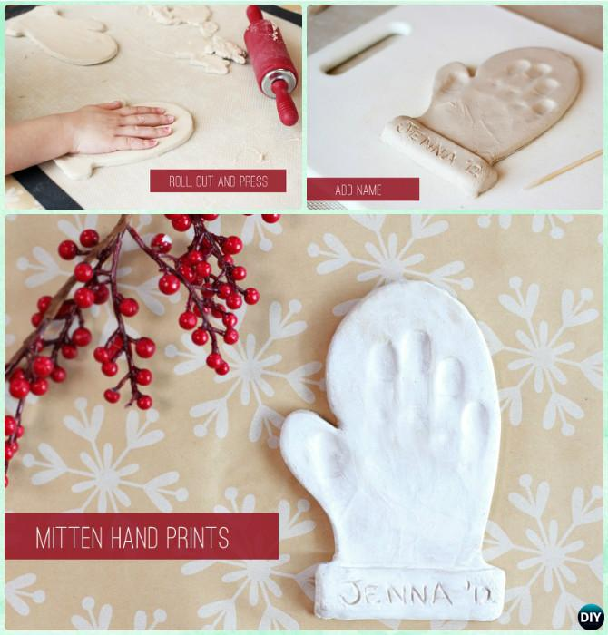 DIY Mitten Handprint Holiday Keepsake Instruction - DIY Handprint Craft Gift Ideas