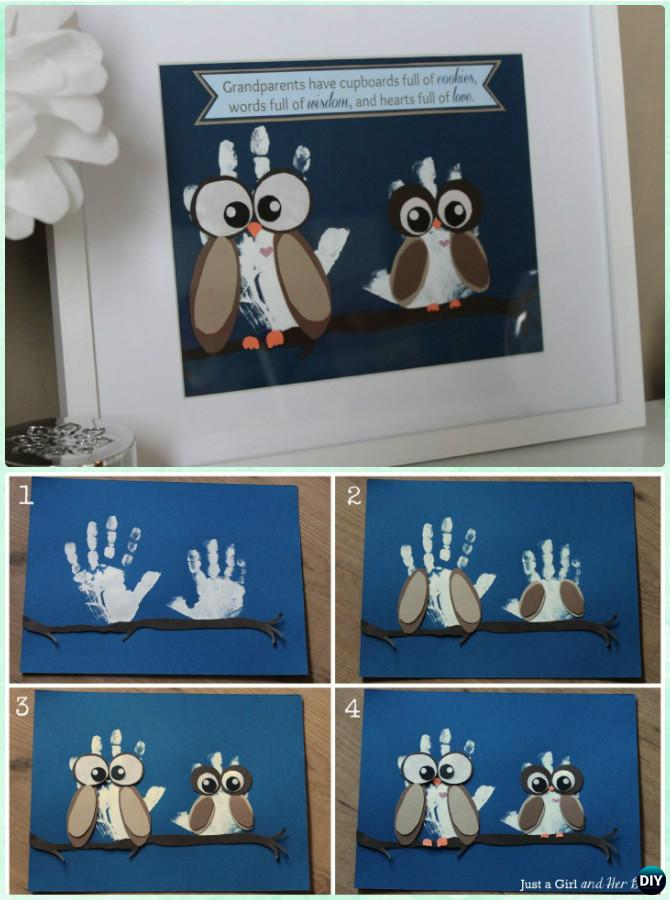 DIY Handprint Owl Art Instruction - DIY Handprint Craft Gift Ideas