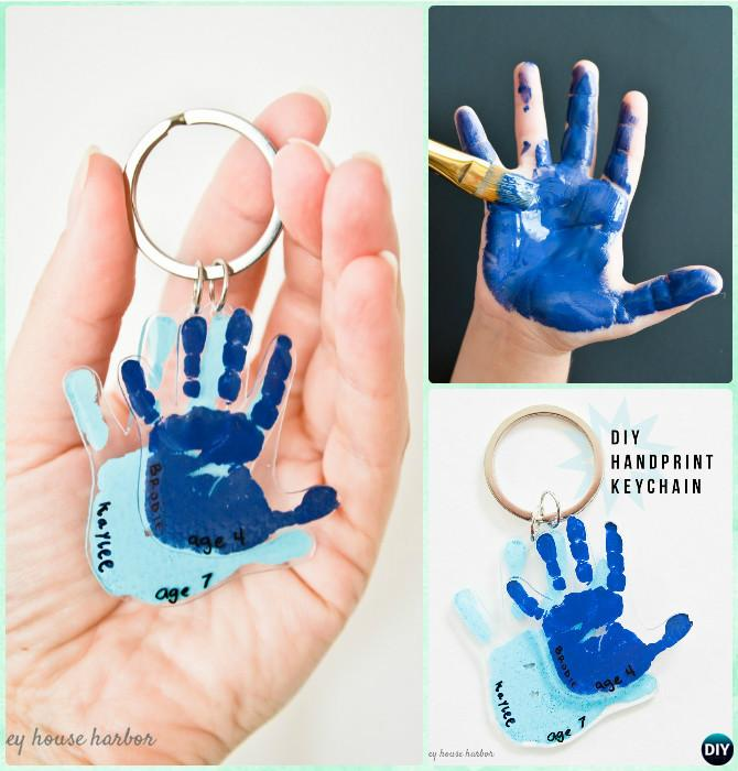 DIY Handprint Keychain Instruction - DIY Handprint Craft Gift Ideas