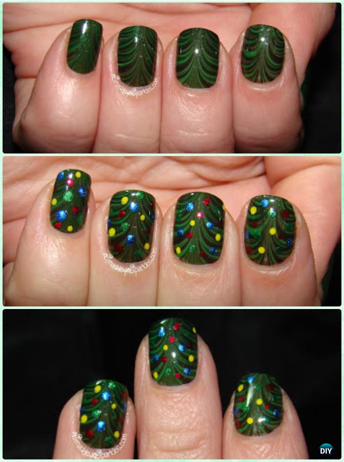DIY Water Marble Christmas Tree Nail Art Instruction-DIY Christmas Nail Art Ideas