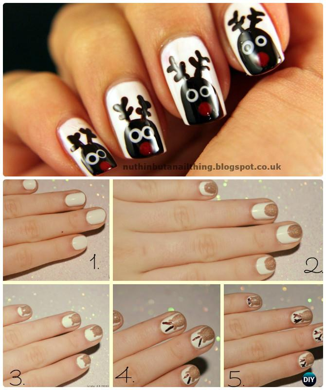 DIY Rudolph Reindeer Nail Art Instruction-DIY Christmas Nail Art Ideas