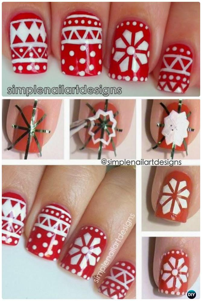Holiday Sweater Nail Art Instruction-DIY Christmas Nail Art Ideas