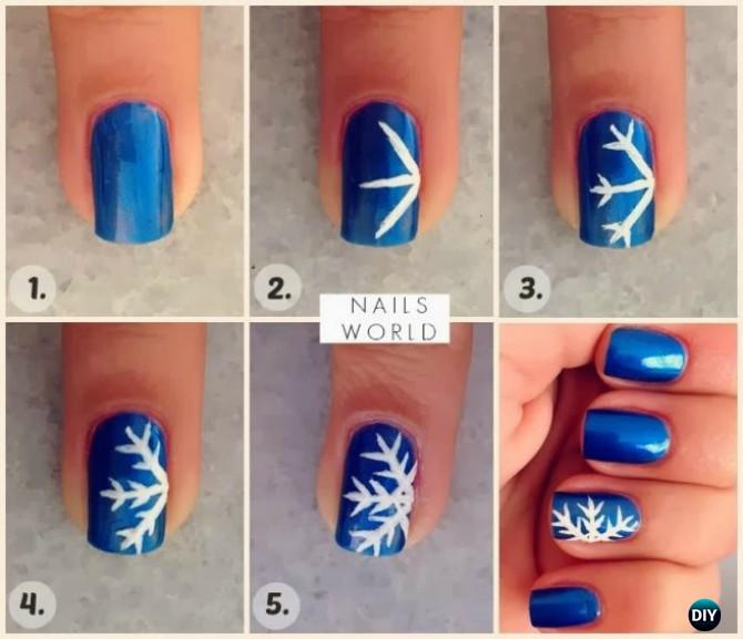 DIY Winter Snowflake Nail Art Instruction-DIY Christmas Nail Art Ideas