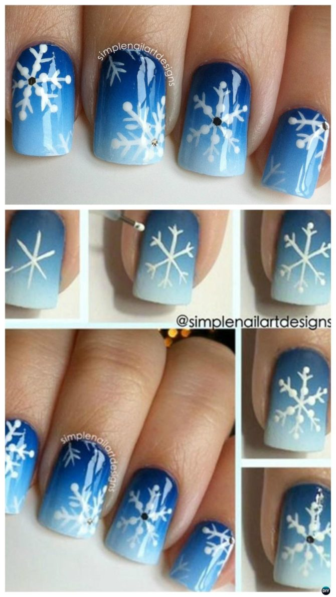 How To how to make snowflake nail art : DIY Christmas Nail Art Ideas Designs [Picture Instructions]