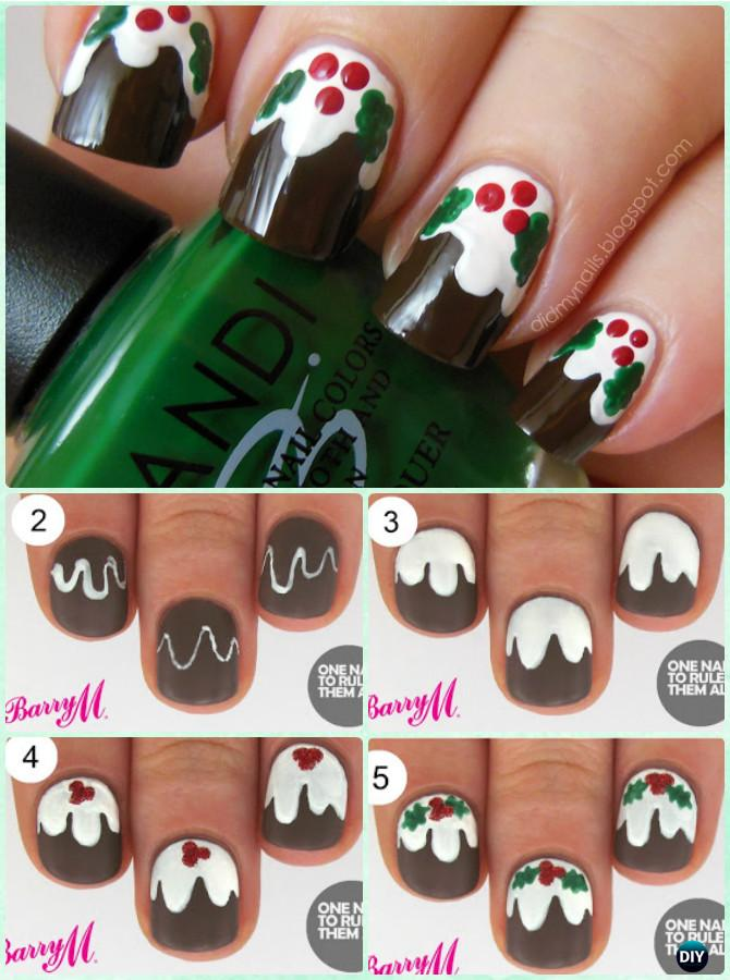 DIY Christmas Pudding Nail Art Instruction-DIY Christmas Nail Art Ideas