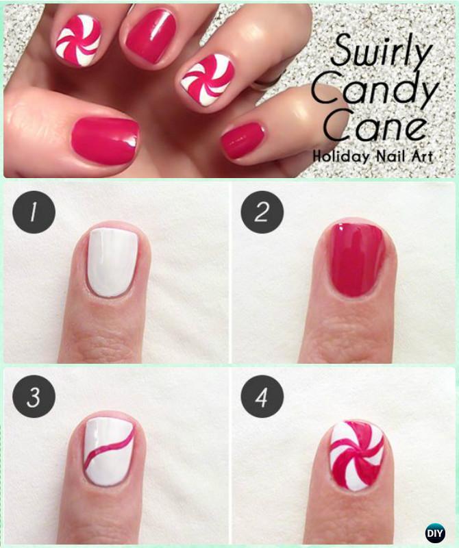 DIY Candy Cane Swirl Nail Art Instruction-DIY Christmas Nail Art Ideas