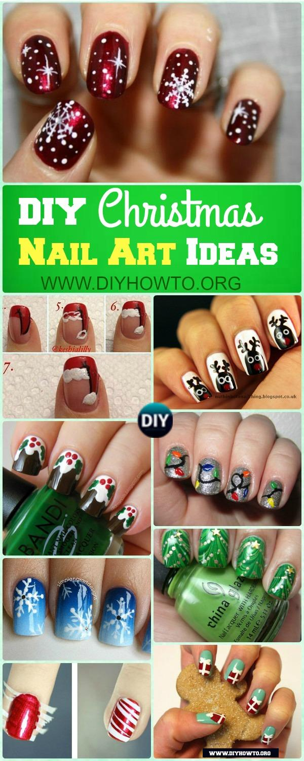 Holiday inspired manicure designs: Santa Hat, Reindeer Nail, Christmas Tree Nail, Snowflake, Snowman
