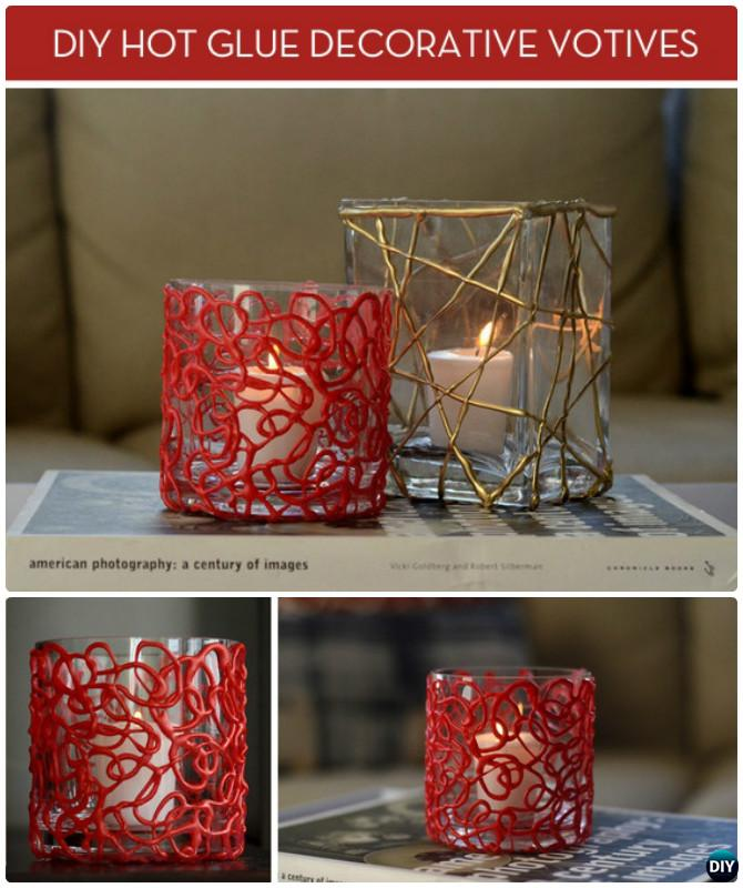 DIY Hot Glue Candle Votive Instruction-DIY Hot Glue Gun Crafts Ideas