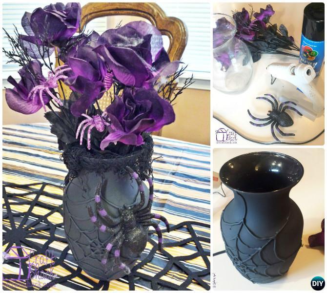 DIY Hot Glue Spiderweb Vase Instruction-Hot Glue Gun Crafts Ideas