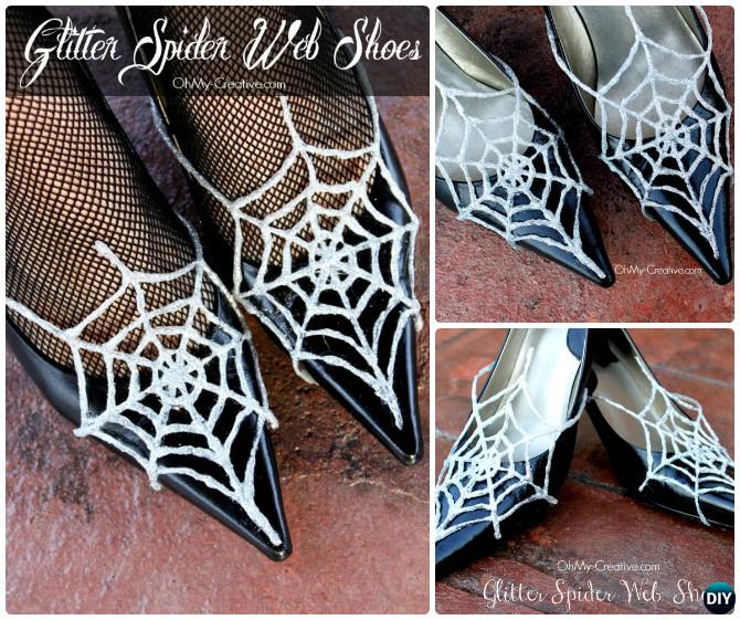 DIY Glitter Hot Glue Spider Web Shoes Instruction-Hot Glue Gun Crafts Ideas
