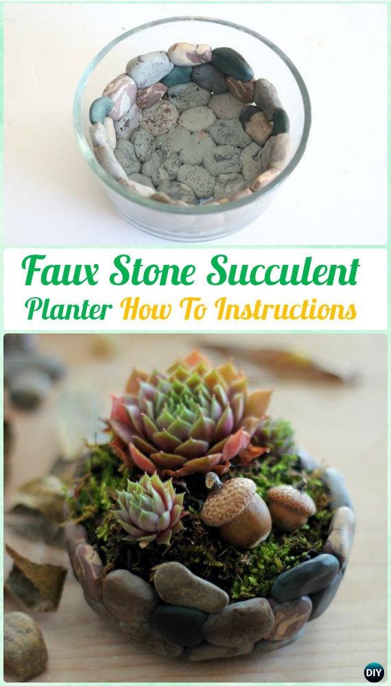 DIY Faux Stone SucculentPlanter Mini Garden Instruction- DIY Indoor Succulent Garden Ideas Projects