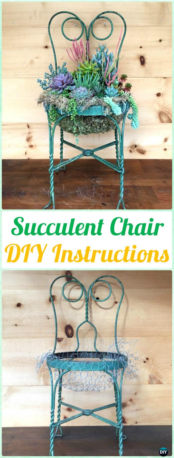 DIY Succulent Chair Planter Instructions - DIY Indoor Succulent Garden Ideas Projects