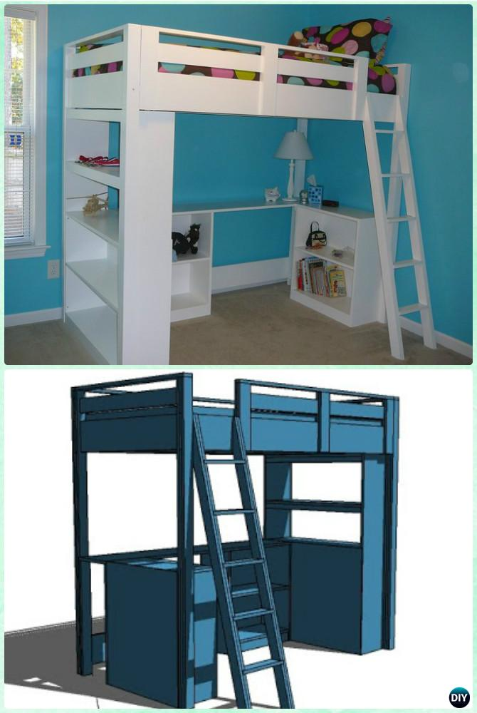 Diy kids bunk bed free plans picture instructions Kids loft bed with desk