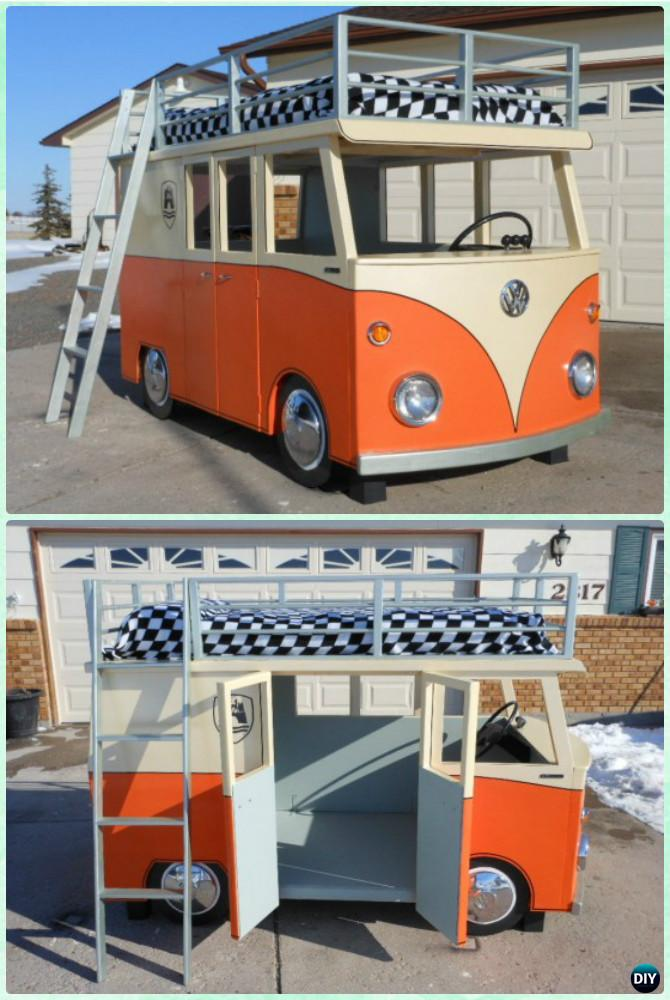 diy vw bus bunk bed playhouse instructions diy kids bunk bed free plans - Bunk Beds For Kids Plans
