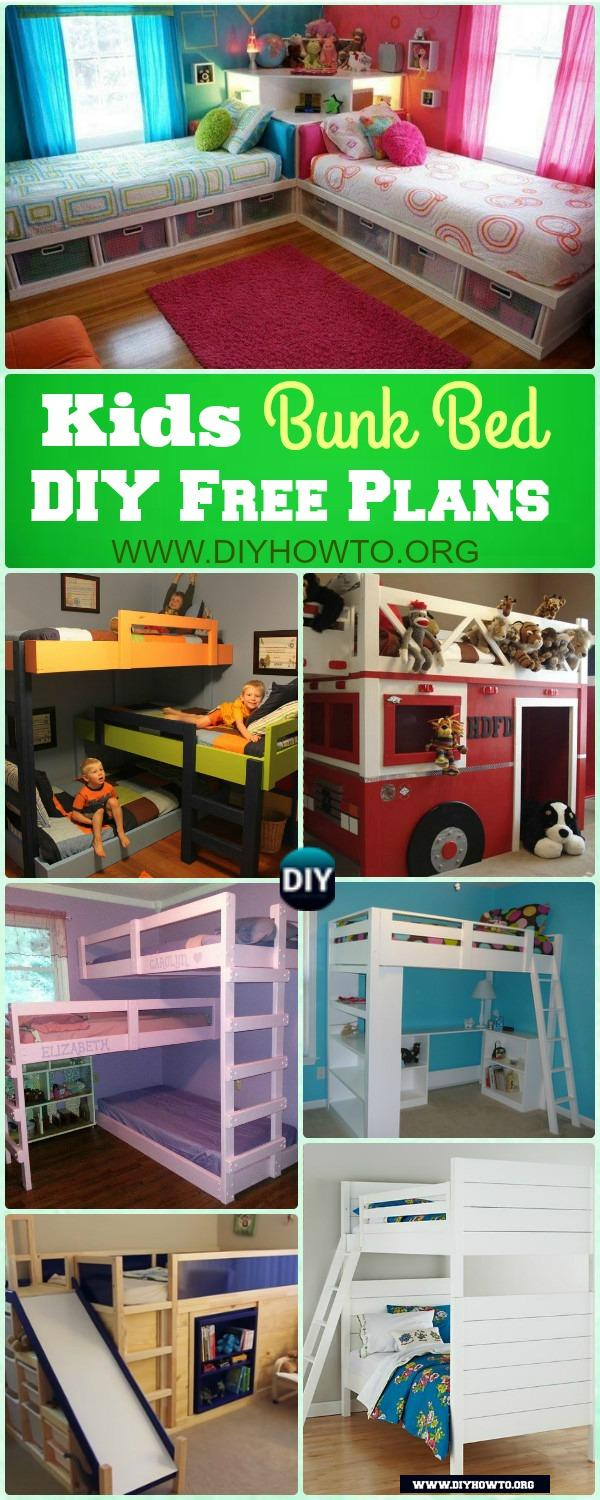 Kids Bunk Bed DY Free Plans, More Space For Kids Bedroom, Desk, Storage