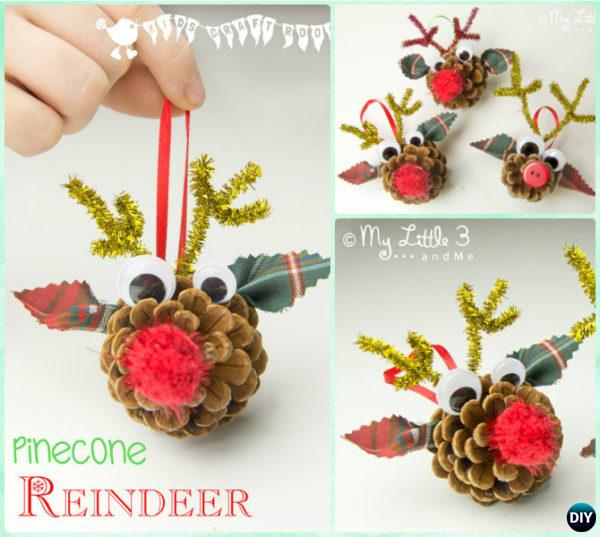 DIY Pinecone Reindeer Instruction - Kids Pine Cone Craft Ideas Projects