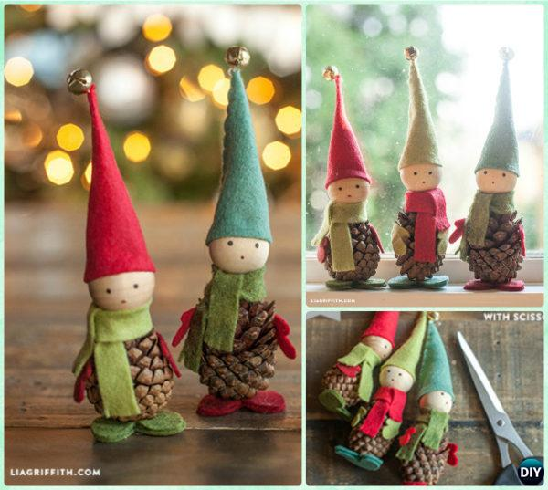 DIY Pinecone Elf Instruction - Kids Pine Cone Craft Ideas Projects