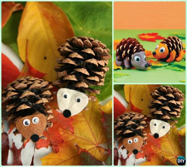 DIY Pinecone Hedgehog Instruction - Kids Pine Cone Craft Ideas Projects
