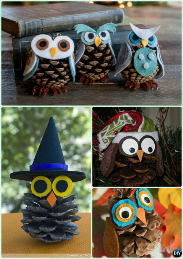 DIY Pinecone Owl Instruction - Kids Pine Cone Craft Ideas Projects