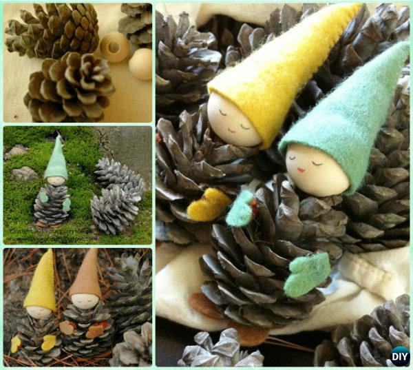 DIY Pine Cone Gnomes Instruction - Kids Pine Cone Craft Ideas Projects