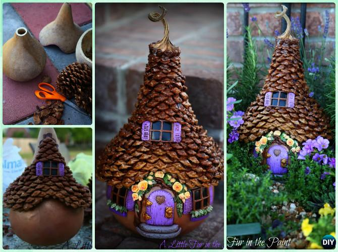 Diy gourd pine cone fairy house instruction kids pine for Pine cone art projects