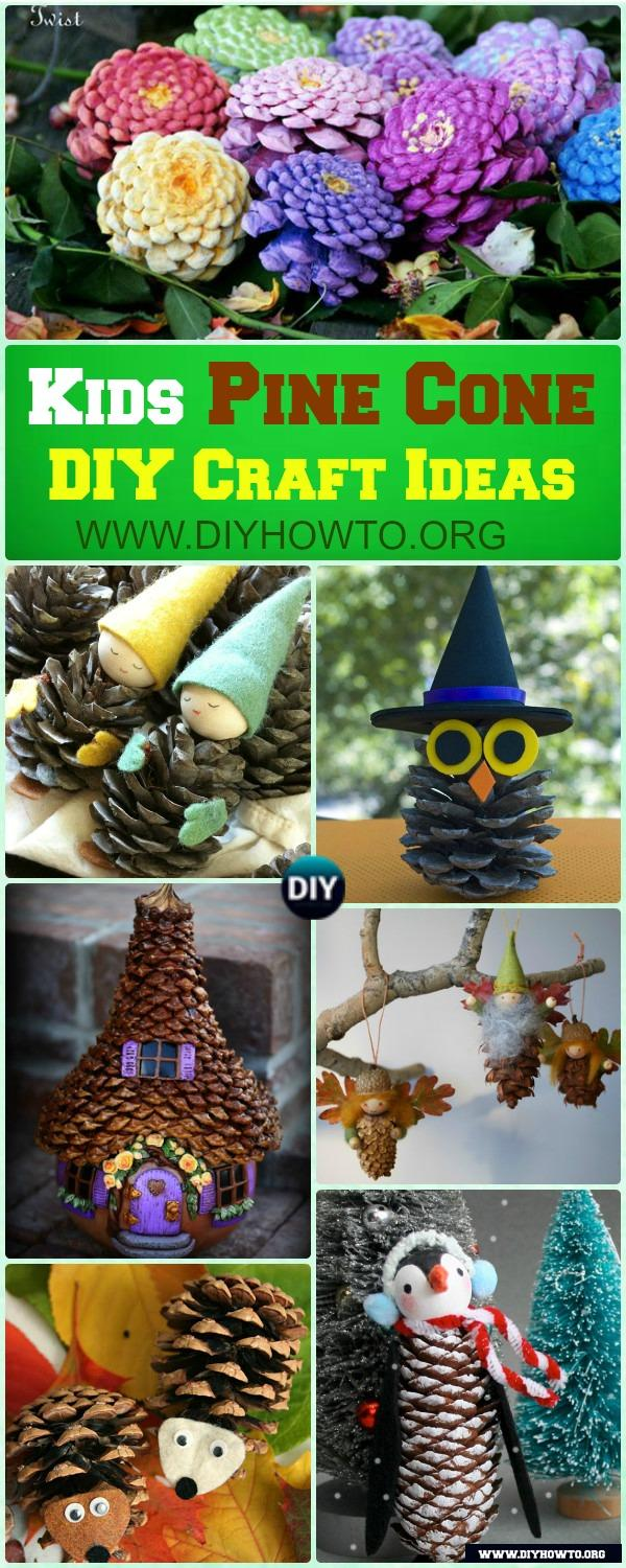 fun pine cone craft ideas to do with kids, pine cone animals, pine cone fairy, fairy house, flowers, and more.