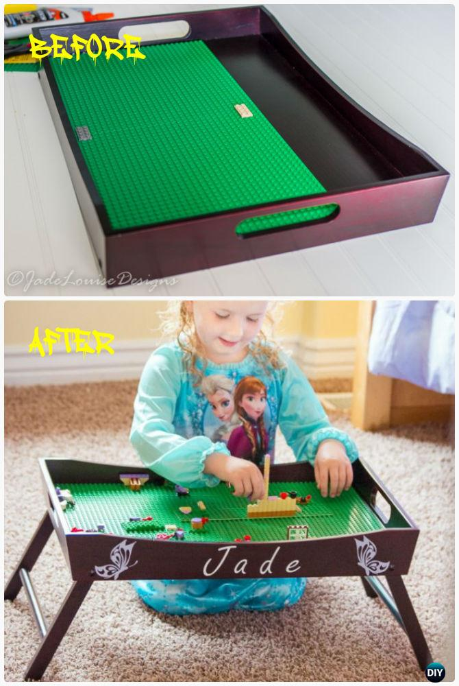 DIY Lego Tray Play Station Instruction-DIY Lego Table Project Ideas for Kids