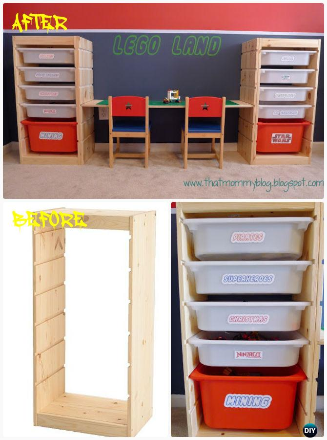 DIY Easy Adjustable Lego Play Table with Storage  Instruction-DIY Lego Table Project Ideas for Kids