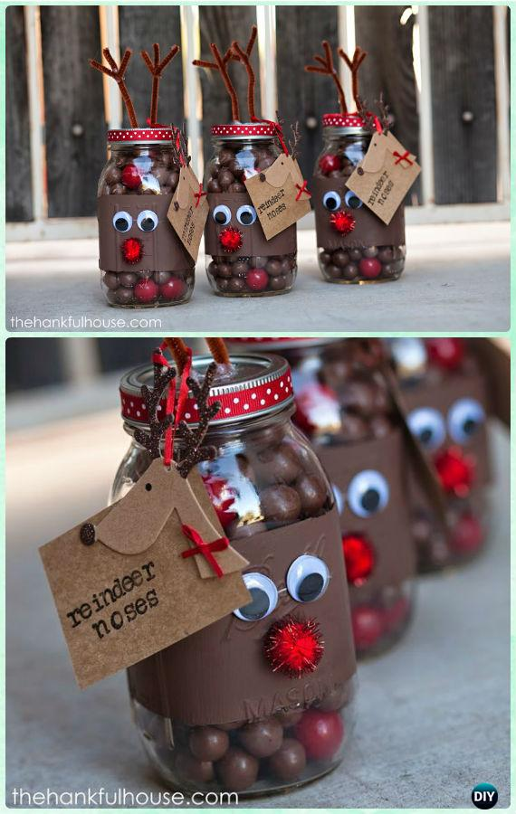 DIY Reindeer Noses Mason Jars Gifts Instructions - DIY Mason Jar Christmas Gift Wrapping Ideas