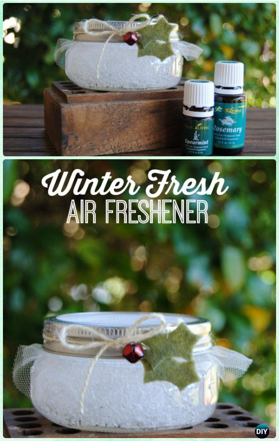 DIY Mason Jar Winter Fresh Air Fresheners Instructions - DIY Mason Jar Christmas Gift Wrapping Ideas