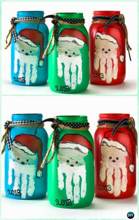 DIY Handprint Santa Mason Jar Gifts Instructions - DIY Mason Jar Christmas Gift Wrapping Ideas