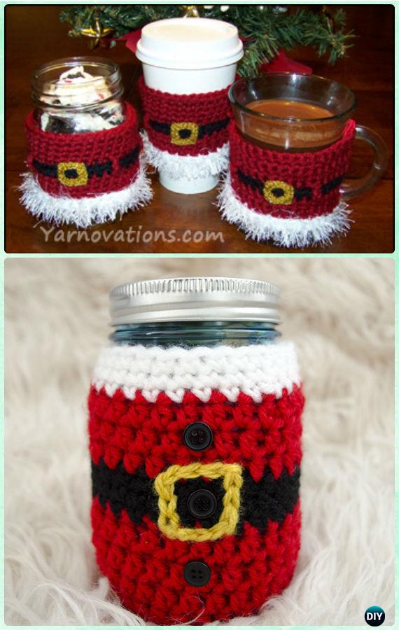 Crochet Santa Mason Jar Cozy Free Pattern - DIY Mason Jar Christmas Gift Wrapping Ideas