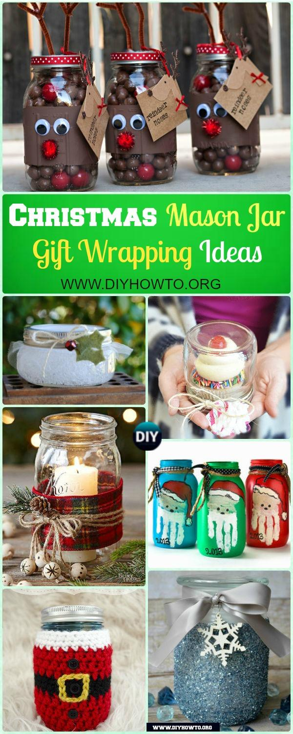 Creative ways to wrap Christmas gifts in the Jar, with paint, hand-print, fabric, crochet..