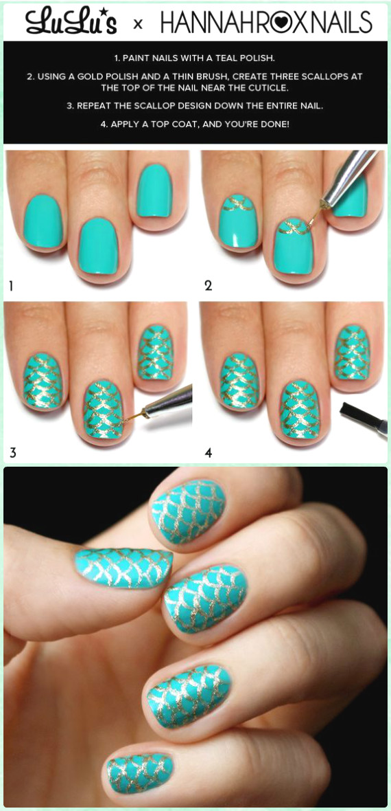 DIY Teal and Gold Mermaid Nail Art - DIY Mermaid Nail Art Manicure Tutorials Summer Beach Nails