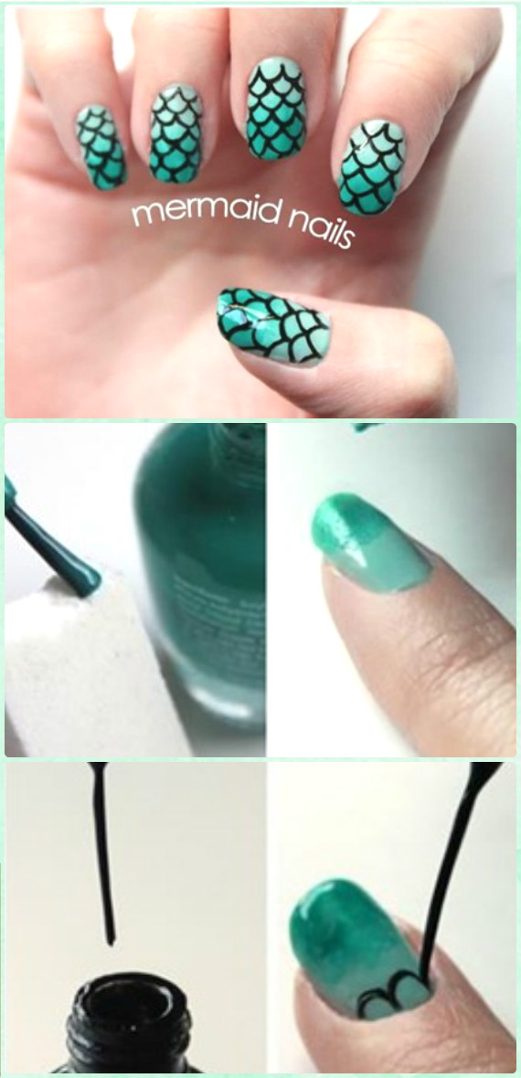 DIY Free Hand Black Scale Mermaid Nail Art Manicure Tutorial